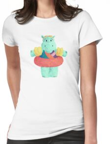 Nervous Beachy Hippo Womens Fitted T-Shirt