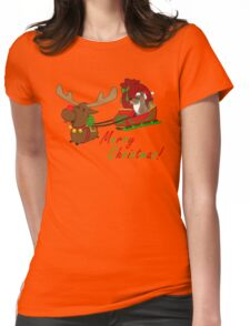 Moose and Trickster wish you a Merry Christmas! Womens Fitted T-Shirt
