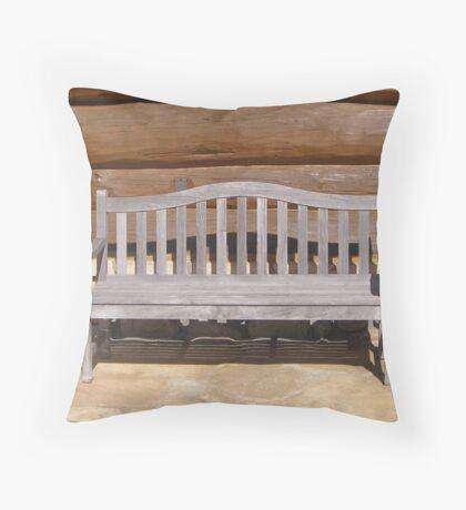 Wood Bench Throw Pillow