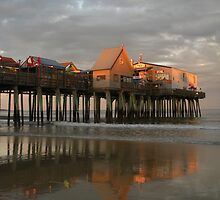 Pier Reflections at Sunset by Connie Thomase