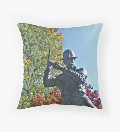 Miner Swinging His Pick Axe Throw Pillow