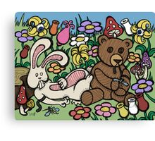 Teddy Bear And Bunny - Chasing The Dragon Canvas Print