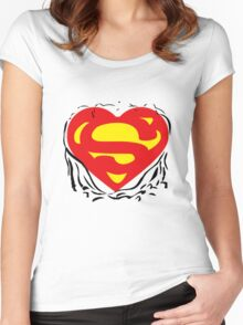 Superheart Funny iPad Case / iPhone 5 Case / T-Shirt  Women's Fitted Scoop T-Shirt