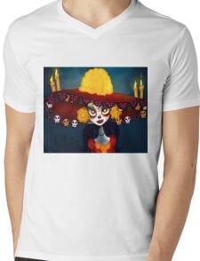 Catrina Skull wrist Mens V-Neck T-Shirt