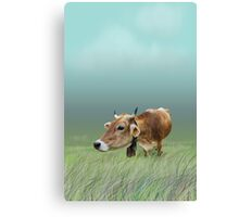 Milk cow in the field Canvas Print