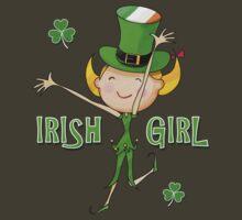 Irish Girl with Leprechaun Hat of Ireland Flag & Green Shamrock Clovers by scottorz