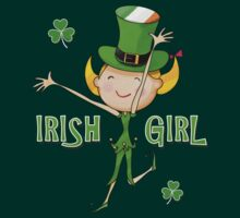 Irish Girl with Leprechaun Hat of Ireland Flag & Green Shamrock Clovers by scottorz