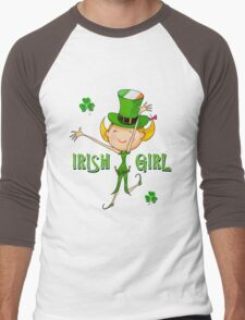 Irish Girl with Leprechaun Hat of Ireland Flag & Green Shamrock Clovers Men's Baseball ¾ T-Shirt