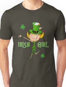 Irish Girl with Leprechaun Hat of Ireland Flag & Green Shamrock Clovers Unisex T-Shirt