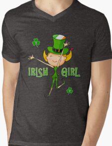 Irish Girl with Leprechaun Hat of Ireland Flag & Green Shamrock Clovers Mens V-Neck T-Shirt