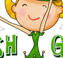 Irish Girl with Leprechaun Hat of Ireland Flag & Green Shamrock Clovers Sticker