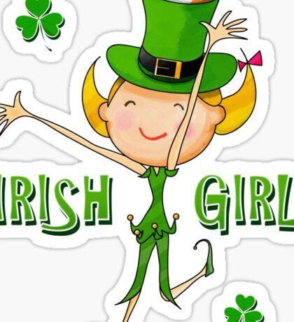 Irish Girl with Leprechaun Hat of Ireland Flag & Green Shamrock Clovers Sticker