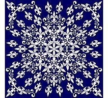 roue de lys (version blanc en bleu) Photographic Print
