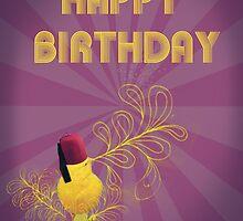 Happy Birthday Singing Yellow Bird Purple by Flylittlebird