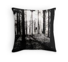 Deer stands in the woods VRS2 Throw Pillow