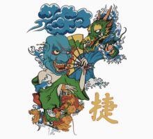 Japanese Mask, Dragon, Koi by Sarah  Eldred