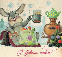 USSR - CIRCA 1963: Reproduction of antique postcard shows rabbit with Christmas spruce by ModernFaces