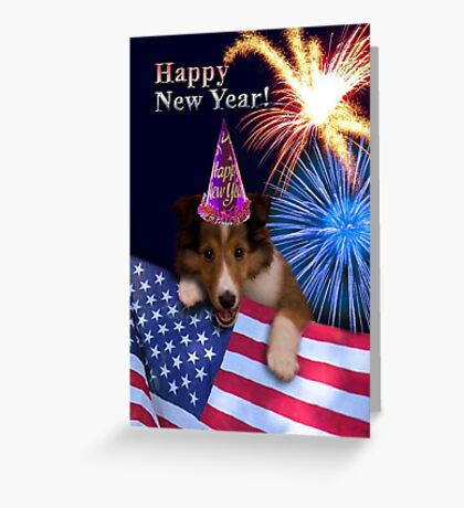 New Years Sheltie Greeting Card