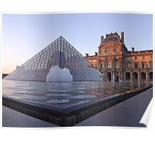 The Louvre, Paris at sunset Poster
