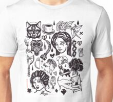 pen and ink blackwork flash sheet Unisex T-Shirt
