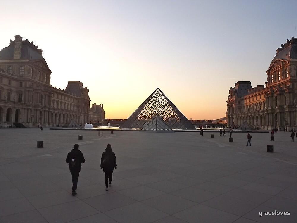 Louvre pyramid sunset, Paris, France by graceloves