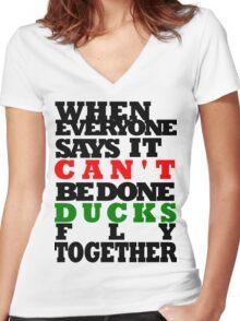 DUCKS Women's Fitted V-Neck T-Shirt