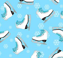 Blue Ice Skating Print by JannaSalak