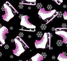 Black and Pink Ice Skating Print by JannaSalak