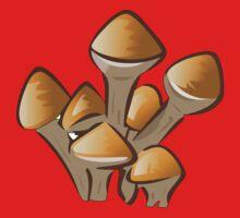 Mushroom, Toadstool, Stem - Orange Brown  One Piece - Short Sleeve