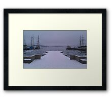 Freezing Harbor Framed Print