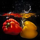 Red & Yellow Peppers 2 by Mick Frank