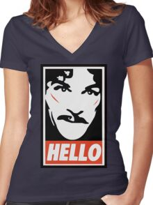 Hello... Women's Fitted V-Neck T-Shirt