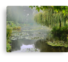 """My interpretation of Monet's """"Water-Lily Pond and Willow"""". Canvas Print"""