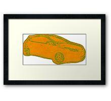 Focus ST Mk3 Drawing - Tangerine Scream Framed Print
