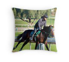 Sprinting Horse at Santa Anita Race Track. Throw Pillow