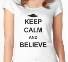 X-Files - Keep Calm and Believe (black text) Women's Fitted Scoop T-Shirt