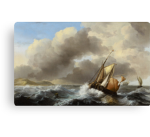 Fishing Vessels Offshore in a Heavy Sea, 1864  Canvas Print