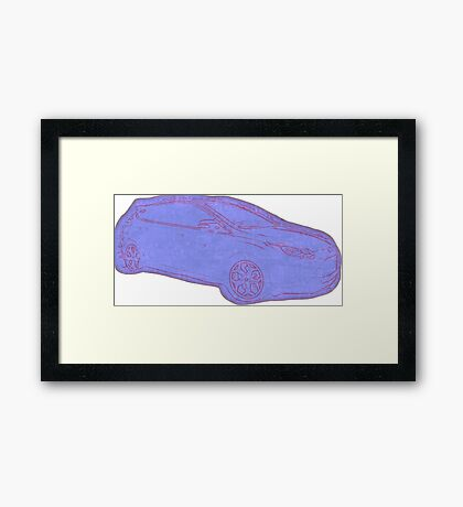 Focus ST Mk3 Drawing - Blue Framed Print