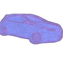 Focus ST Mk3 Drawing - Blue Photographic Print