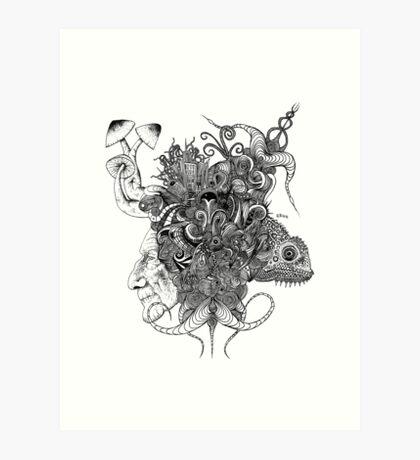 Psilocybinaturearthell Psychedelic Ink Illustration Art Print