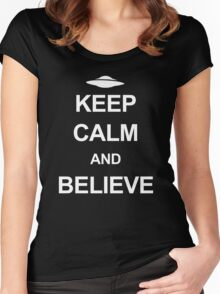 X-Files - Keep Calm and Believe (white text) Women's Fitted Scoop T-Shirt