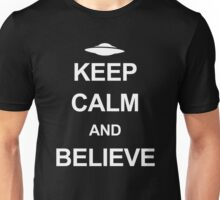 X-Files - Keep Calm and Believe (white text) Unisex T-Shirt