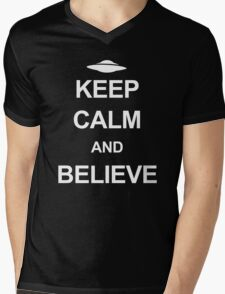 X-Files - Keep Calm and Believe (white text) Mens V-Neck T-Shirt