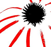 Coneflower - Black White And Red Series by Betty Northcutt
