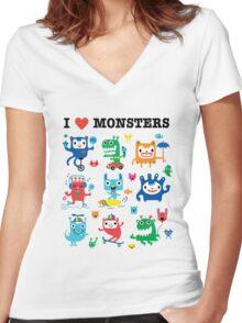 Monster Love Women's Fitted V-Neck T-Shirt