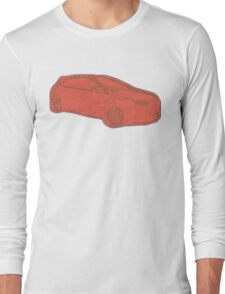 Focus ST Mk3 Drawing - Race Red Long Sleeve T-Shirt