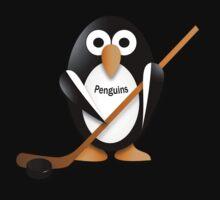 Penguin with hockey stick One Piece - Short Sleeve