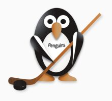 Penguin with hockey stick One Piece - Short Sleeve