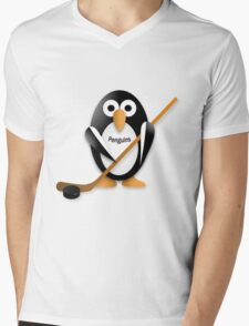 Penguin with hockey stick Mens V-Neck T-Shirt