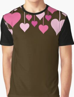 Hanging Hearts - Brown Pink Graphic T-Shirt